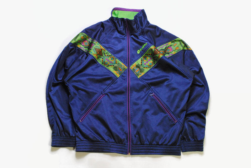 vintage LOTTO for Boris Becker tennis Italian Track Jacket Pro mens Size L authentic acid 90s rare retro hipster winter lightwear rave sport