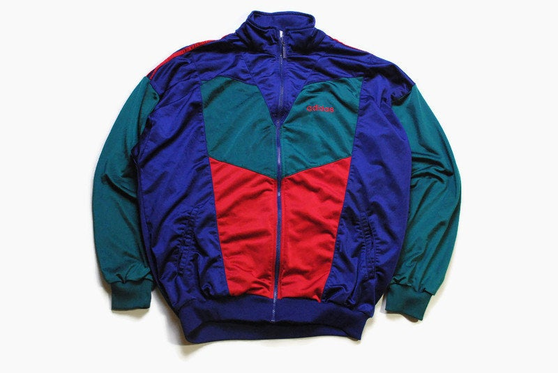 vintage ADIDAS ORIGINALS Track Jacket Size L authentic blue rare retro hipster 90s 80s classic germany sport style rave athletic multicolor