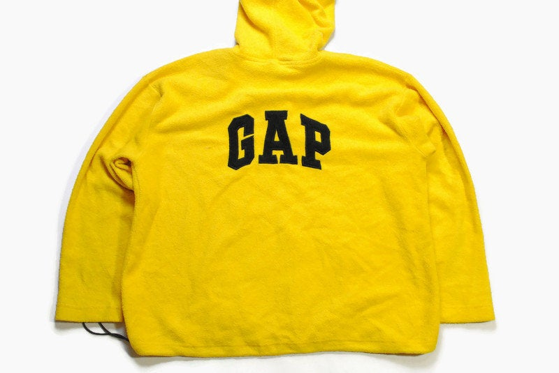 vintage GAP big logo FLEECE men's Size XL yellow authentic sweater hoodie 90s 80s rare retro hipster hooded hip hop winter rave outdoor wear