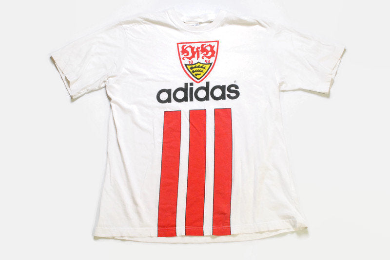 vintage ADIDAS ORIGINALS Stuttgart big logo T-Shirt white red football collrction Size XL rare 90s 80s hipster retro oversize summer tee top