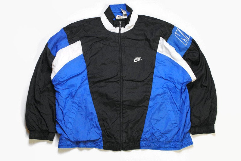 vintage NIKE authentic track jacket Size XL black blue rare retro rave hipster sport athletic 90s 80s casual hip hop running streetwear logo