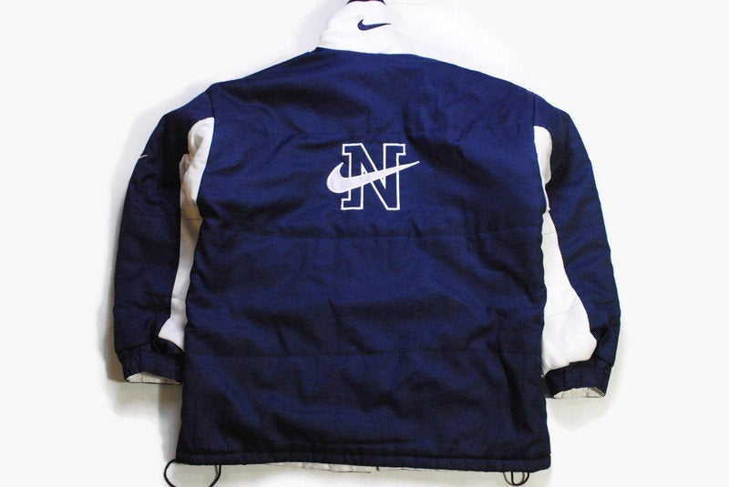 vintage NIKE big logo jacket Size XL mens athletic sport full zip blue and white hip hop style retro hipster 90s 80s coat rare warm outfit