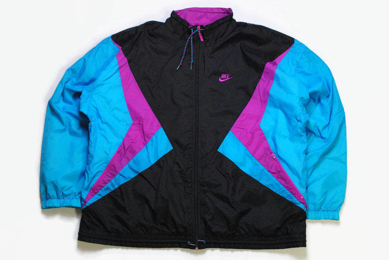 vintage NIKE authentic track jacket Size XL rare retro rave hipster sport athletic 90s 80s AIR hip hop running streetwear blue black purple