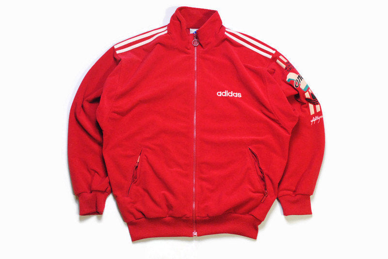 vintage ADIDAS ORIGINALS One World men's track jacket Size S authentic red rare retro rave hipster zipped trackjacket suit 90's 80's sport