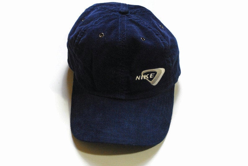 vintage NIKE Corduroy navy blue hat logo cap hipster one size retro authentic tag color 90's 80's summer sun visor deadstock classic fit men