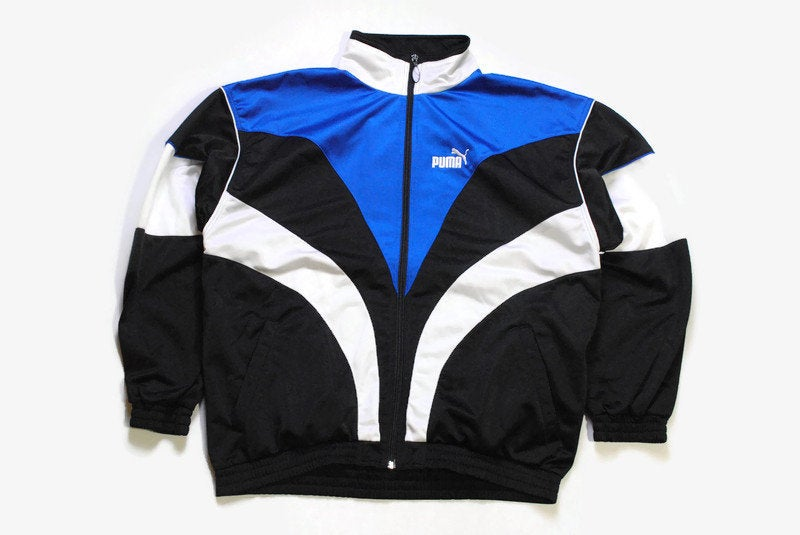 vintage PUMA men's track jacket Size M authentic blue black rare retro rave hipster 90's 80's wear bomber tracksuit streetwear small logo