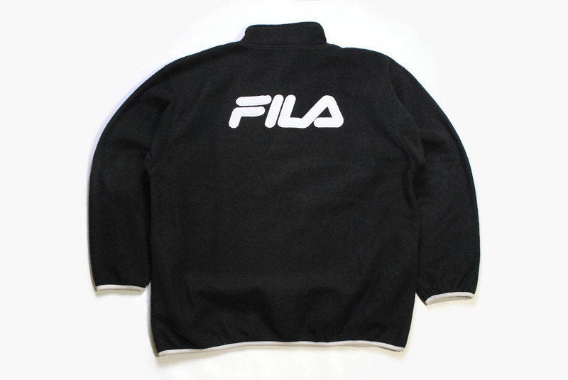 vintage FILA FLEECE big logo men's Size xxl black white authentic sweater acid 90's 80's rare retro hipster winter wear rave half zip zipper