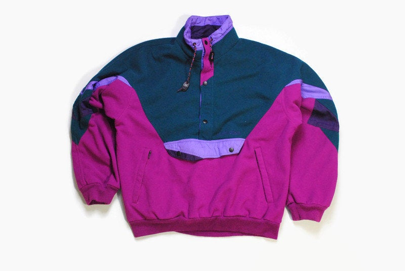 vintage NEVICA MULTICOLOR FLEECE purple green Size L rare retro hipster wear men's 80s 90s sweater abstract pattern half zipped winter ski