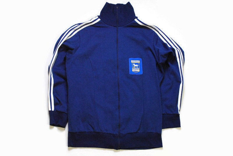 vintage ADIDAS ORIGINALS IPSWICH Town fc football mens track jacket Size L made in Yugoslavia authentic retro sport full zip 80s sport style
