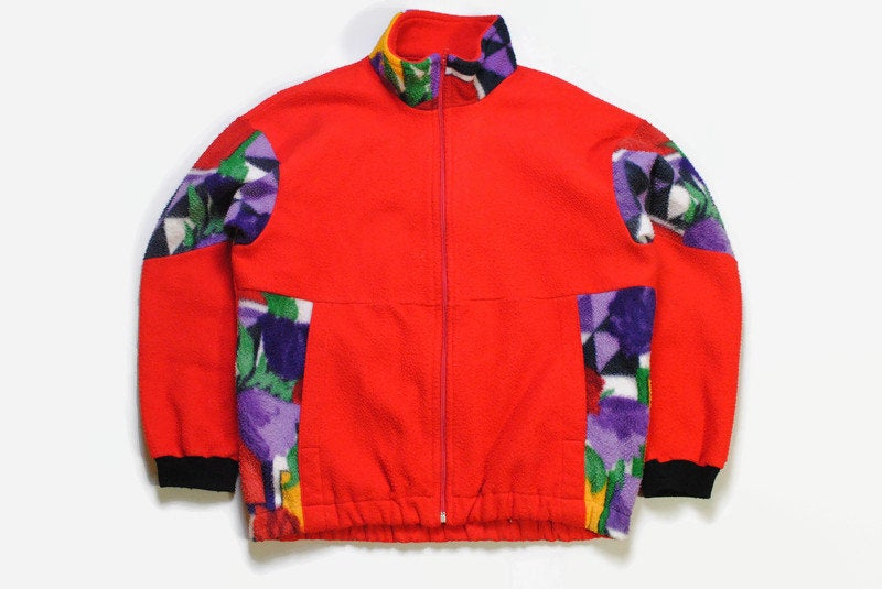vintage FLEECE red multicolor colorway Size men's L retro hipster wear 90's 80s warm sweater abstract pattern rave outfit full zipped winter
