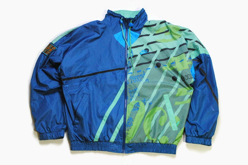 vintage NIKE Sports jacket acid color Size M men's athletic sport full zip front pockets rare retro hipster abstract print green blue 90s