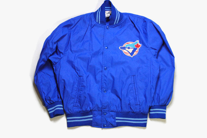 vintage TORONTO BLUE JAYS Bomber Jacket mens blue mlb coach Size L deadstock retro snap button 90s 80s big logo sport atheltic baseball coat