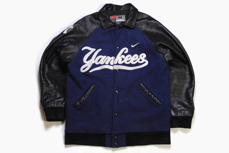 vintege YANKEES NIKE Team New York authentic mens Jacket big logo Size M blue rare team baseball ny USA collactable 90s 80s genuine leather
