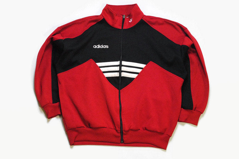 vintage ADIDAS ORIGINALS men's track jacket red black classic Size M authentic retro bright rave hipster zipped coat 90s 80s sport stylish