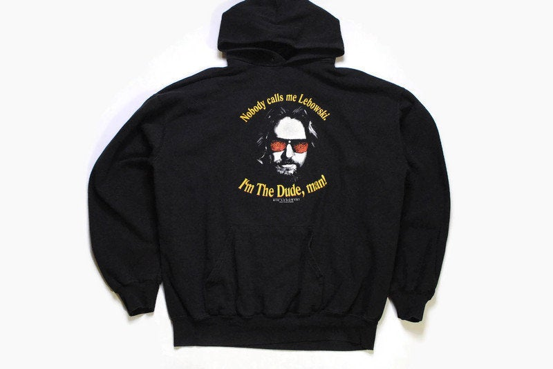 vintage BIG LEBOWSKI I'm The Dude, Man hoodie black yellow Size XL big logo retro 90's Dudeism culture 1998 cinema art hipster sweatshirt