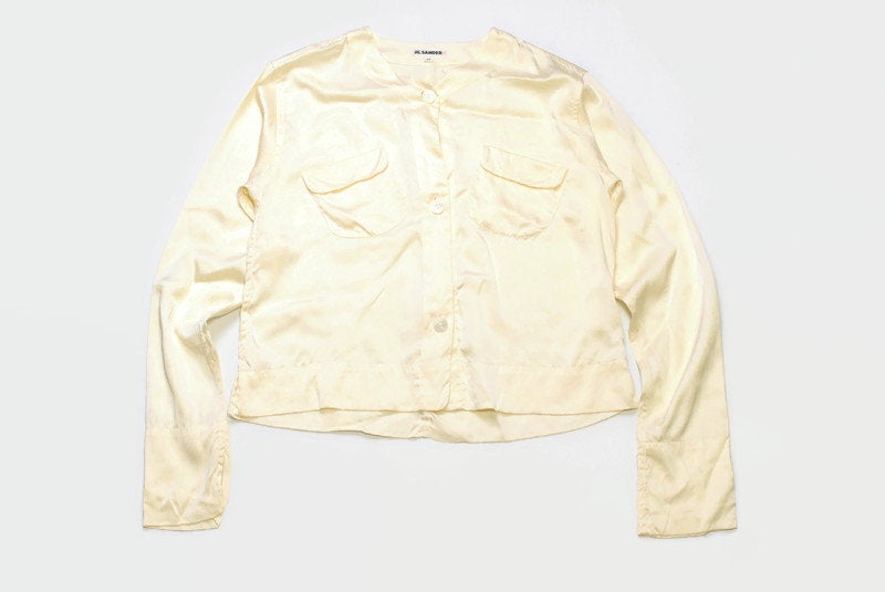 vintage JIL SANDER+ Silk Blouse Shirt Cream womens authentic 80s retro yellow top Size 38 beige rare deadstock casual wear front pockets 90s
