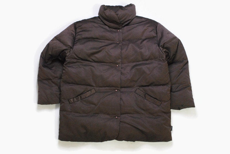 vintage MONCLER authentic women's puffer jacket SIZE 1 S brown rare retro 90s snap button long sleeve winter warm windbreaker down jacket