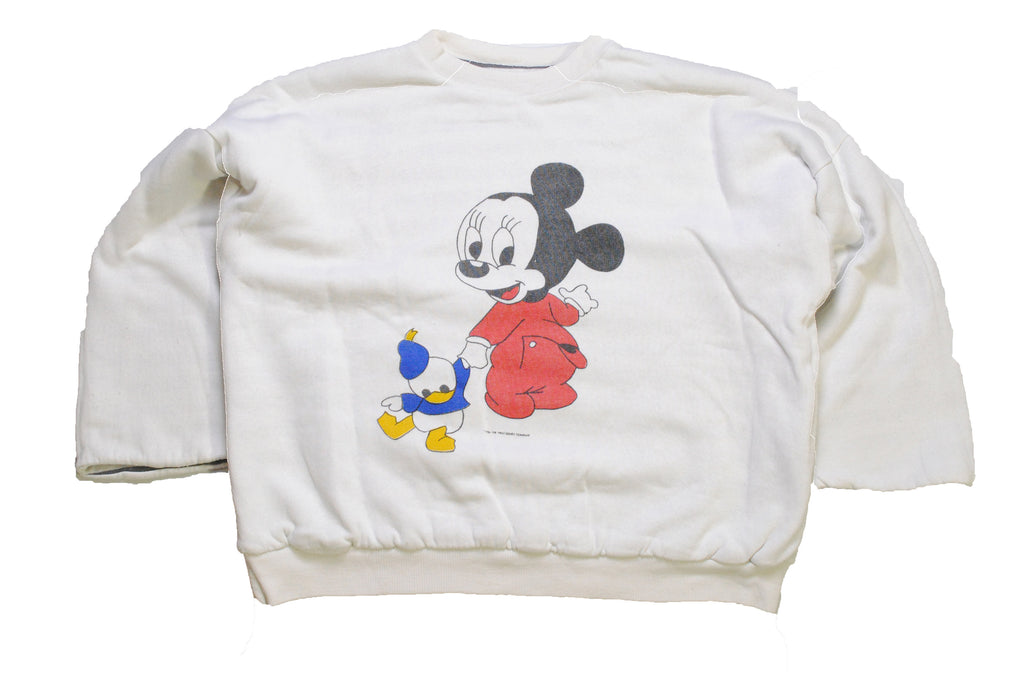 vintage 1986 MICKEY MOUSE authentic sweatshirt wear white Size XS rare retro collection hipster 90's 80's cardigan big logo unisex women's