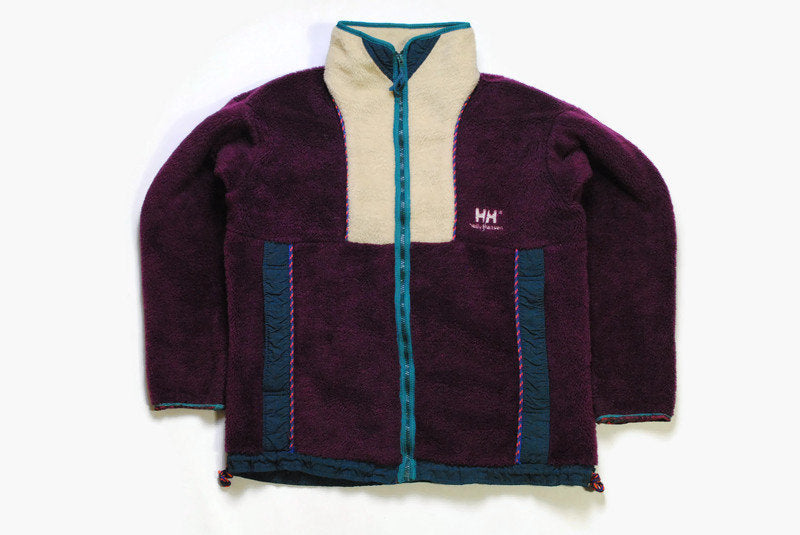 vintage HELLY HANSEN FLEECE oversized men's Size M purple authentic sweater heavy 90s 80s rare retro hipster winter rave outdoor streetwear