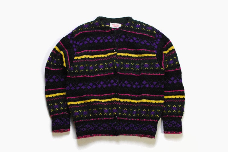 vintage UNITED COLORS Of BENETTON Shetland Wool Cardigan sweater unisex Size 46 men's authenitc multicolor 90s 80s retro hipster streetwear