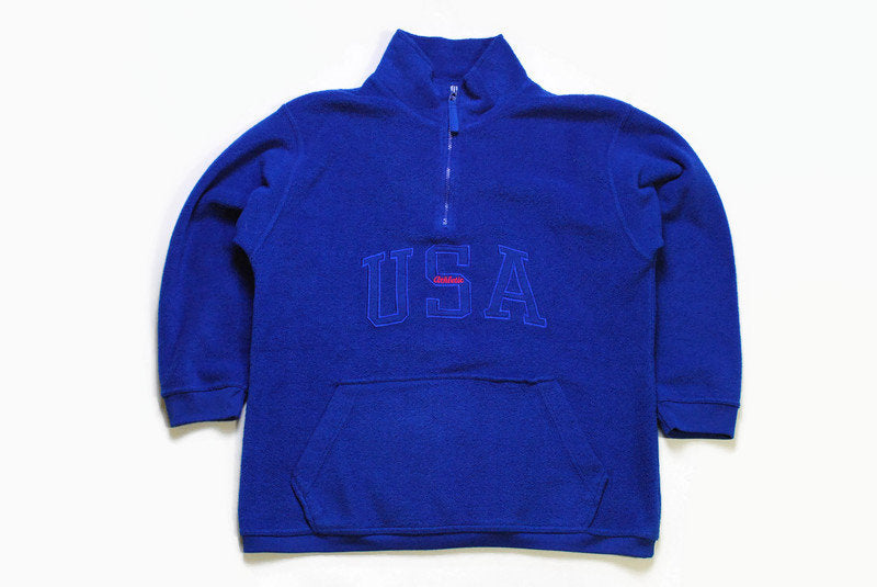 vintage USA Athletic big logo FLEECE half zip up nvy blue Size men's S sweater winter 90's rare retro hipster rave wear zipped warm outfit