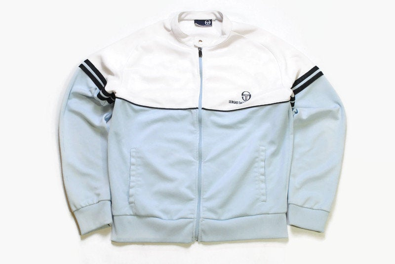 vintage SERGIO TACCHINI track jacket Size XL men's authentic white blue rare retro rave hipster 90s casual Green Street Hooligans streetwear