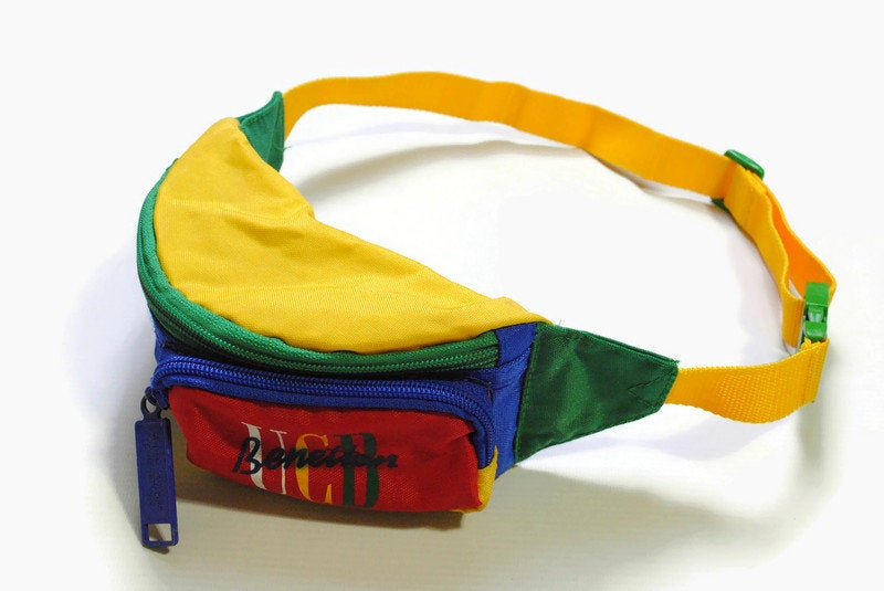 vintage UNITED COLORS of BENETTON ucb Waist Bag Fanny Pack small multicolor bright rare authentic accessories retro outfit authentic 80s