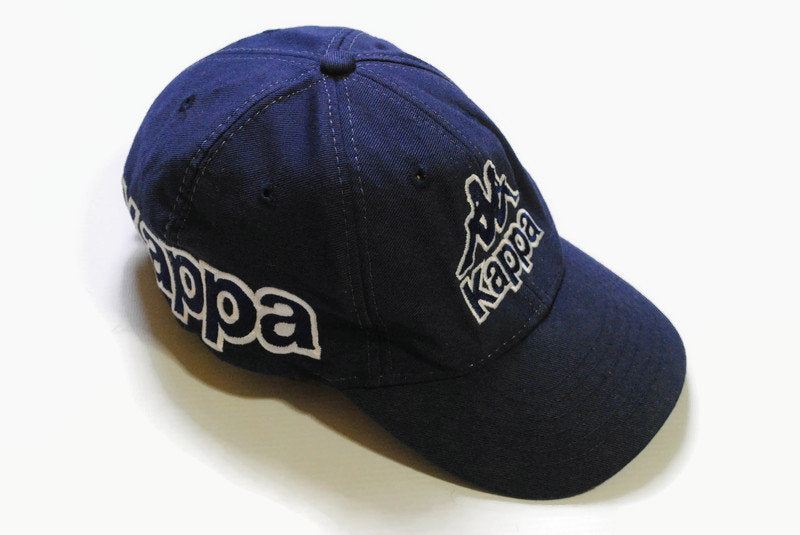 vintage KAPPA big logo hat navy blye cap hipster one size retro authentic tag color 90's 80's summer sun visor deadstock classic fit men's