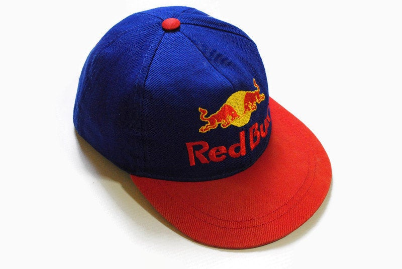 vintage RED BULL hat big logo cap blue red yellow hipster one size extrem sport cotton retro authentic 90s summer visor energy drink unisex