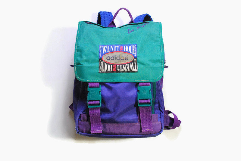 vintage ADIDAS ORIGINALS Twenty Four Hours backpack purple green multicolor rare authentic accessories retro outfit bag streetwear schoolbag