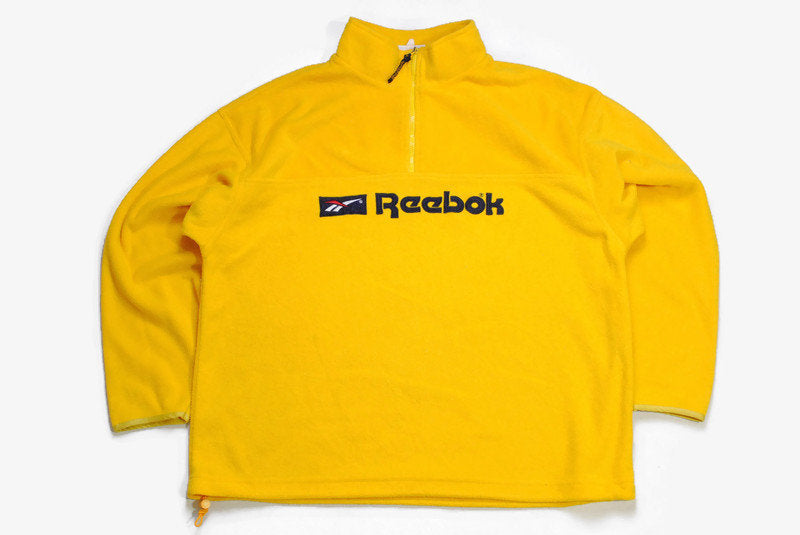 vintage REEBOK Classic FLEECE oversized men's Size XL yellow authentic sweater 90s 80s bright retro hipster winter rave outdoor streetwear