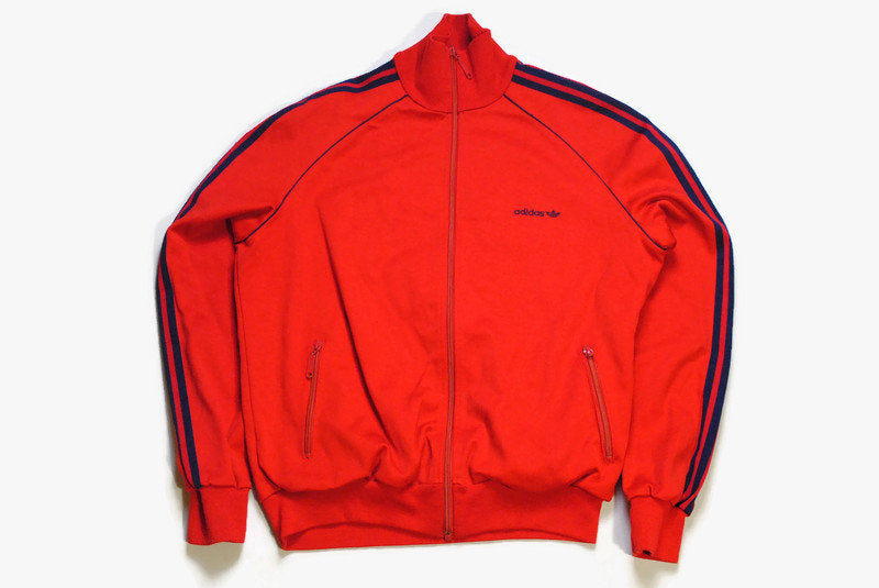 vintage ADIDAS ORIGINALS Track Jacket authentic blue red retro hipster 90s 80s classic made in Hungary rave athletic sport suit Size men's L