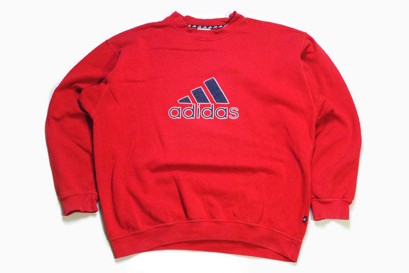 vintage ADIDAS ORIGINALS big logo sweatshirt oversized men's long sleeve 90s athletic sweater red retro streetwear casual authentic Size L