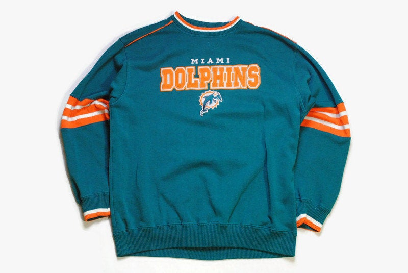 vintage MIAMI DOLPHINS Lee Sport big Logo sweatshirt nfl authentic official product Size L men's green orange retro wear sweater rare 90's