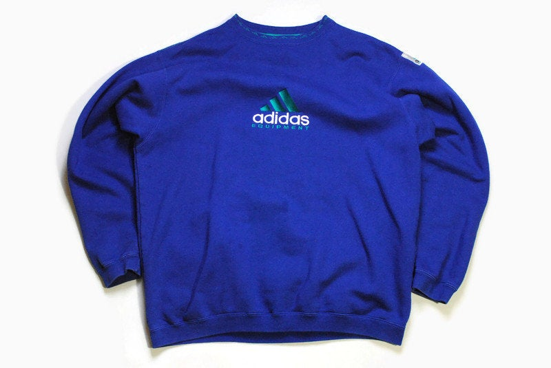 vintage ADIDAS EQUIPMENT authentic sweatshirt blue Size M oversized men's long sleeve athletic sweater 90's retro streetwear casual big logo