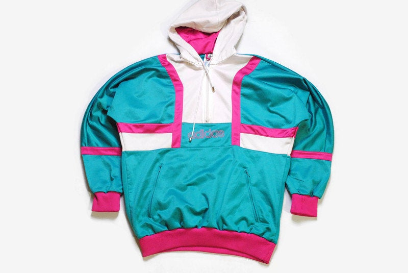 vintage ADIDAS ORIGINALS men's Nylon Hoodie authentic rare retro sweat with hood Size M green pink hipster rave sweatshirt 90s 80s running