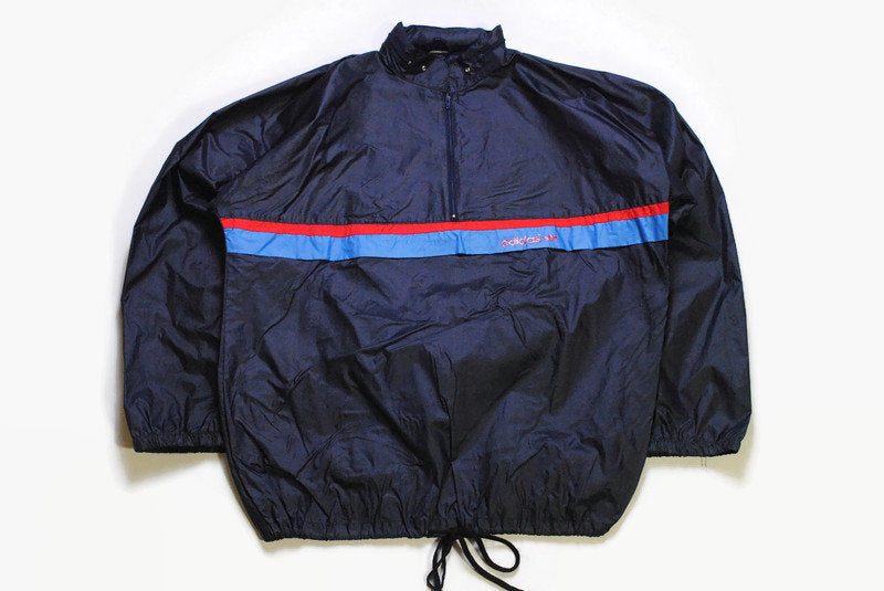 vintage ADIDAS ORIGINALS mens Light anorak Windbreaker Jacket front small Logo authentic rare retro track Size XL dark hipster rave 90s 80s