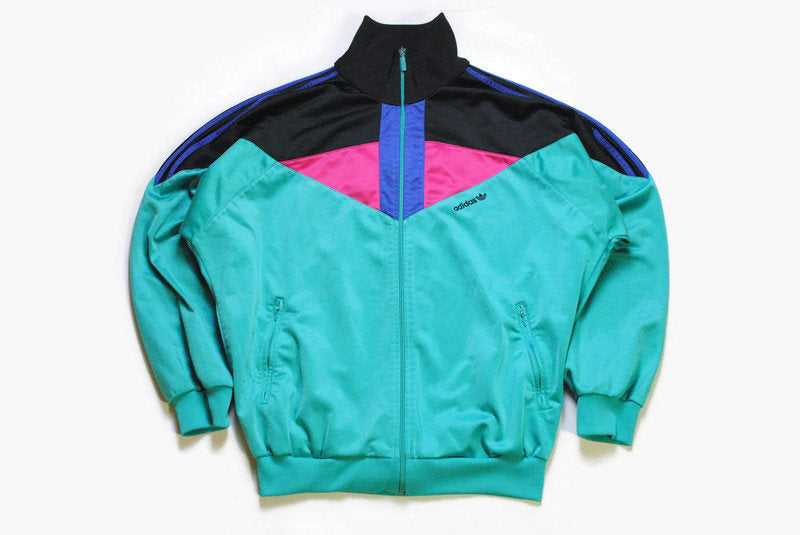 vintage ADIDAS ORIGINALS men's track jacket Size M authentic green black rare retro rave hipster 90s 80s suit streetwear clothing athletic