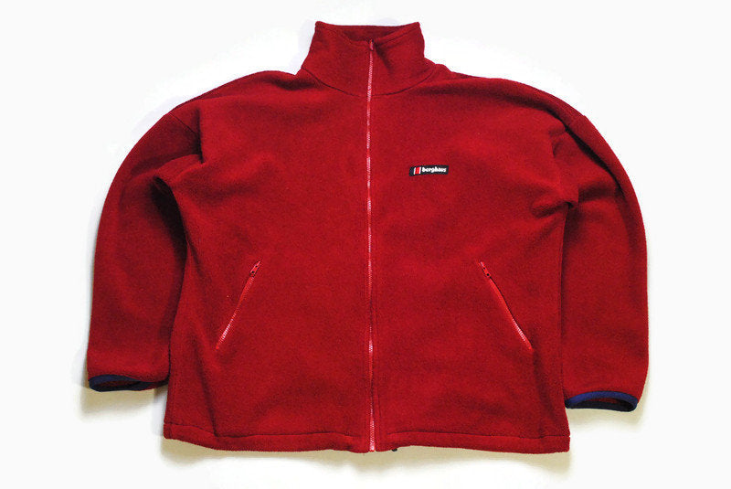 vintage BERGHAUS FLEECE PolarTec Sweater Retro red mens full zip Size XL authentic Jacket bright winter sweatshirt acid 90s 80s rare hipster