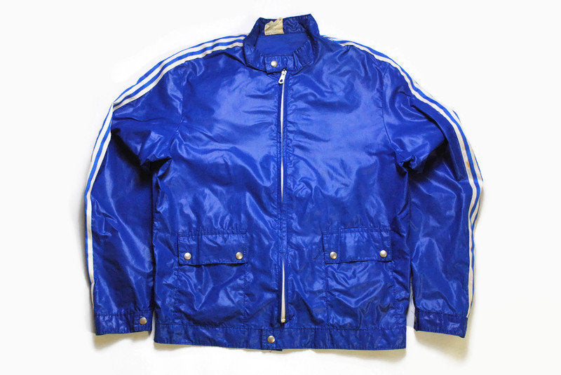 vintage ADIDAS ORIGINALS blue lightwear Jacket Size S/M authentic rare retro wear hipster 80s windbreaker coat athletic sport light clothing