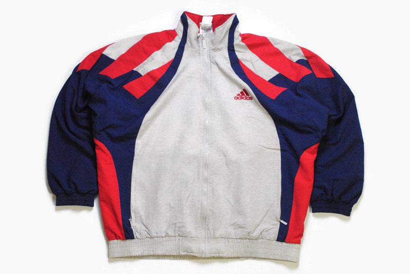 vintage ADIDAS men's track jacket Size L authentic blue gray rare retro rave hipster streetwear basic bomber trackjacket 90s athletic coat