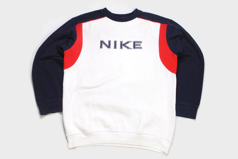 vintage NIKE big logo sweatshirt Size M men's white blue authentic 90's rave wear sweater hipster hip hop retro oversize swoosh streetwear