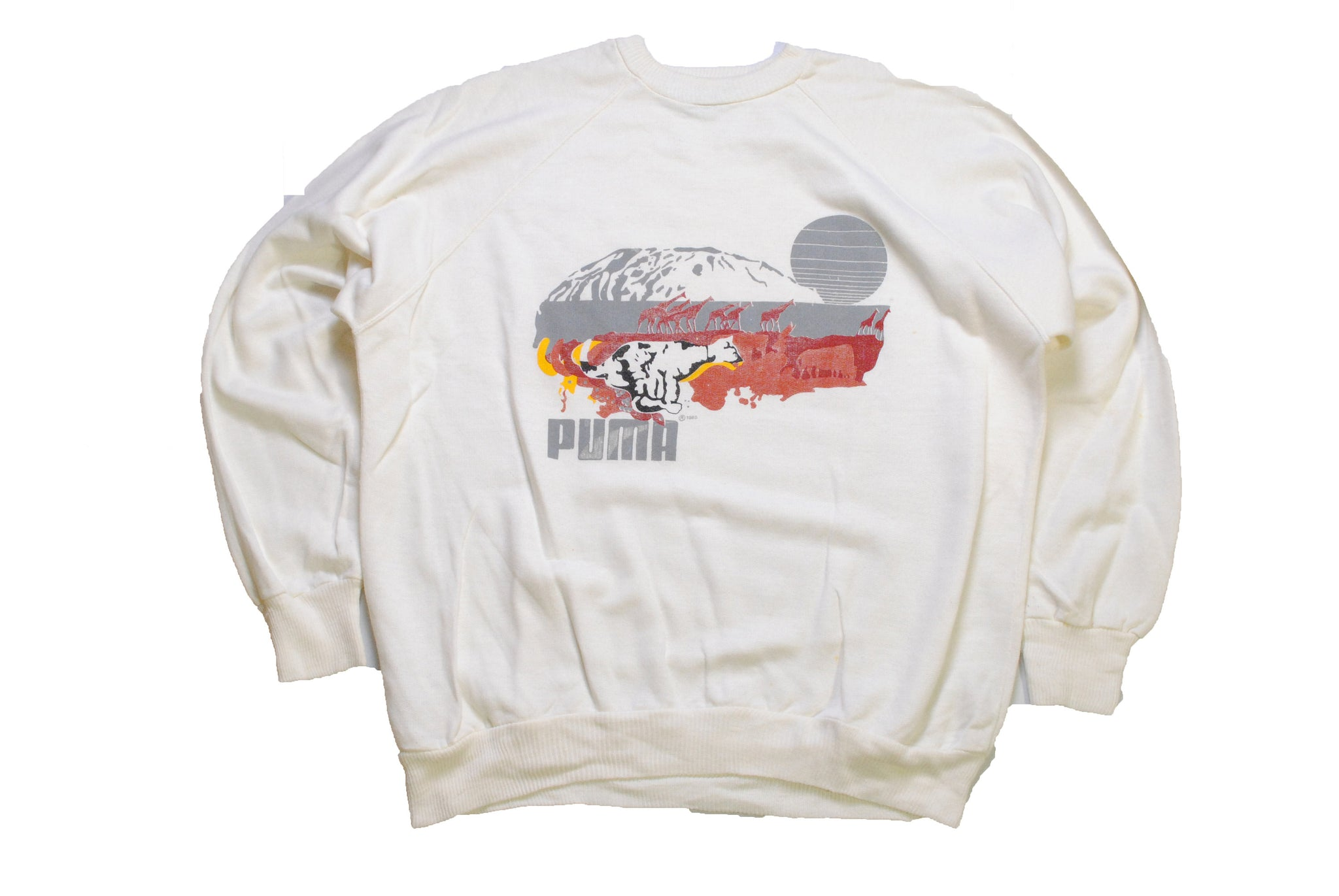 vintage 1985 PUMA big logo sweatshirt authentic white safari Wear Size XL mens athletic sport outfit retro wear sweater 90's 80's streetwear