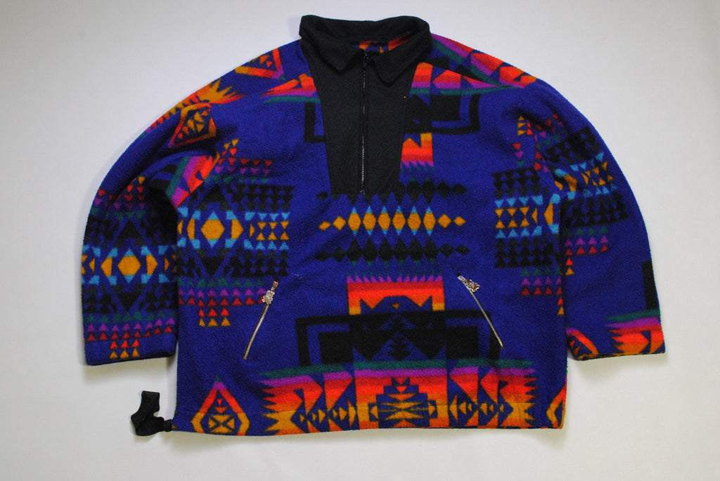 vintage MULTICOLOR FLEECE Sweater oversize purple unisex authentic 80s 90s ski outdoor warm rare retro hipster winter sport sweat half zip
