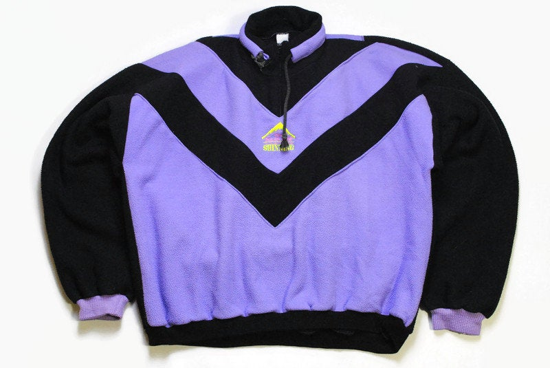 vintage FLEECE Sweater Multicolor Purple Black Size M retro hipster wear mens 90s 80s mountain winter warm outfit rave clothing half zipped