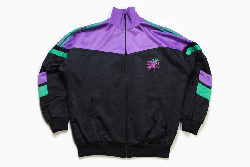 vintage ADIDAS ORIGINALS Sport men's track jacket Size L authentic purple black retro rave hipster 90s 80s suit streetwear clothing athletic