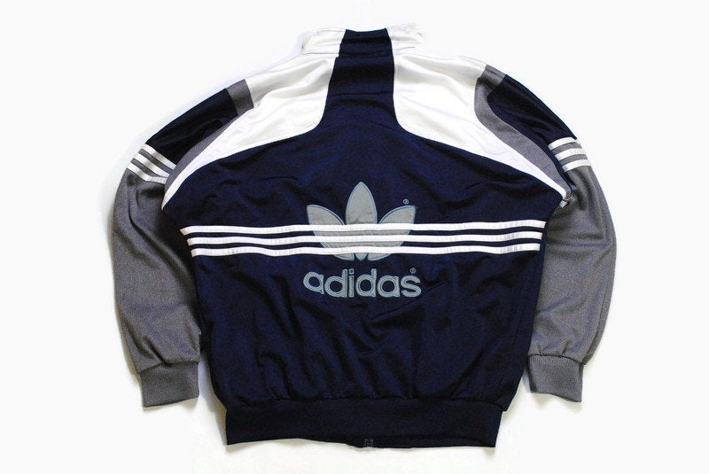 vintage ADIDAS ORIGINALS Track Jacket Size M authentic big logo rare retro hipster 90s 80s classic germany sport style athletic blue gray