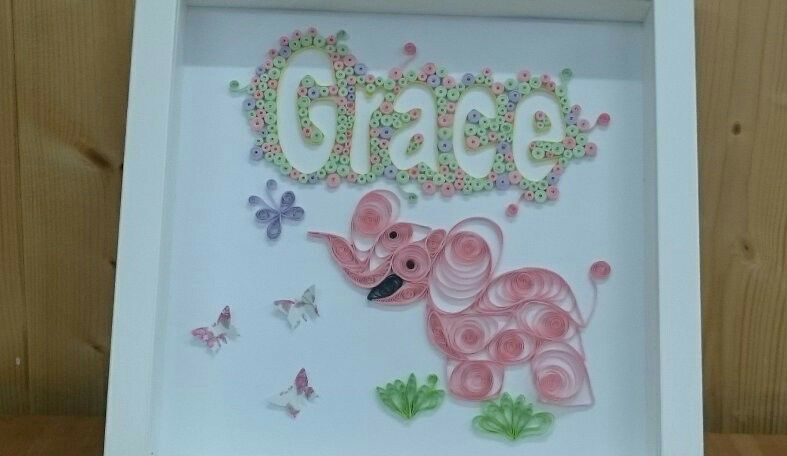Quilled Animal & Name - Framed