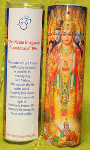 Vishnu Mantra Meditation Candle embellished with Swarovski Crystals