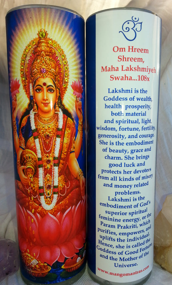 Lakshmi Goddess of Wealth Mantra Meditation Candle embellished with Swarovski Crystals #2